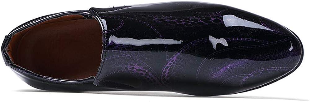 HILOTU D/égagement Luxueux Chaussures de Smoking en Cuir Verni Noir pour Hommes Slip on Dress Oxford Loafer