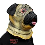 CreepyParty Deluxe Novelty Halloween Super Bowl Underdog Costume Party Latex Animal Dog Head Mask (Pug)