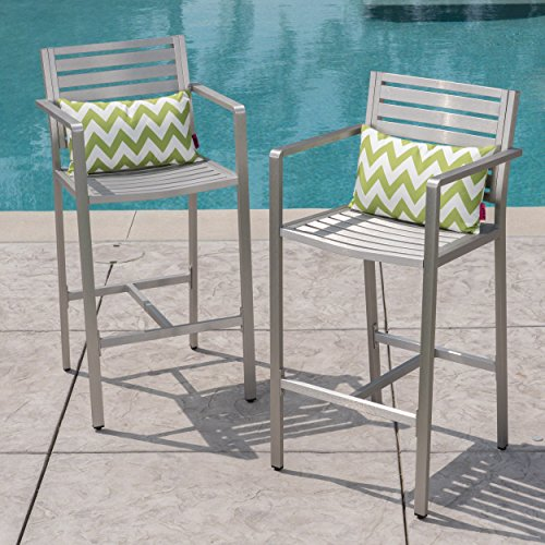 Great Deal Furniture 304257 Tammy Coral Outdoor Silver Rust-Proof Aluminum 29.50 Inch Barstools (Set of 2), ()
