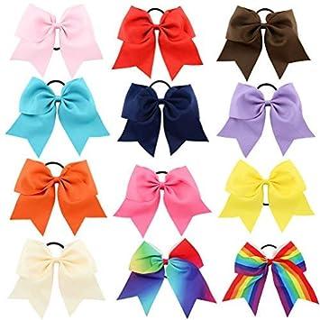 Tobatoba 12Pcs 8   Large Cheer Hair Bows Ponytail Holder Elastic Hair Ties  Hair Bows For Girls Kids... 5de36381fbe