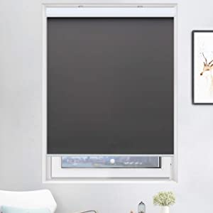 Acholo Cordless Blinds for Windows, Blackout Window Blinds and Shades for Home Bedroom Kitchen or Office with Valance, Grey, W22 x H72 inch