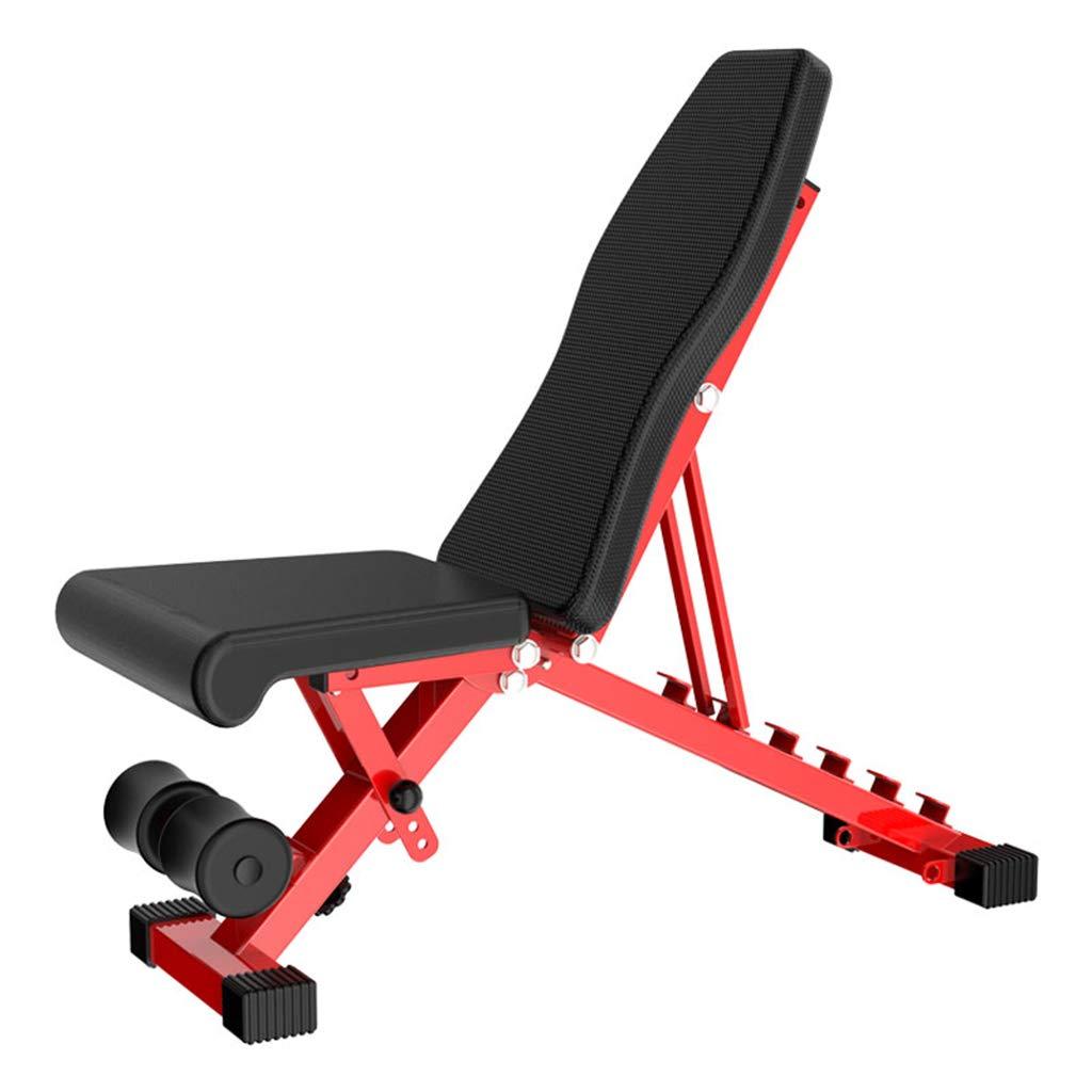 ZHEN GUO Justierbare Sitz-Bank, faltendes Multifunktionsübungs-Trainings-Gewichts-Bank, Stahlneigungs-Trainingsbank-PU-Auflage, schwarz und rot