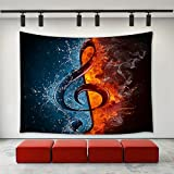 LBKT Music Note Tapestry Wall Hanging , Abstract Fire and Water Splashing Music Note Melody Tapestry Home Decoration Wall Decor Art Tapestries for Bedroom Living Room College Dorm 60''x40''