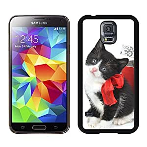 Customization Black White Christmas Cat With Red Bowknot Samsung Galaxy S5 Black Silicone Case,Samsung I9600 Case