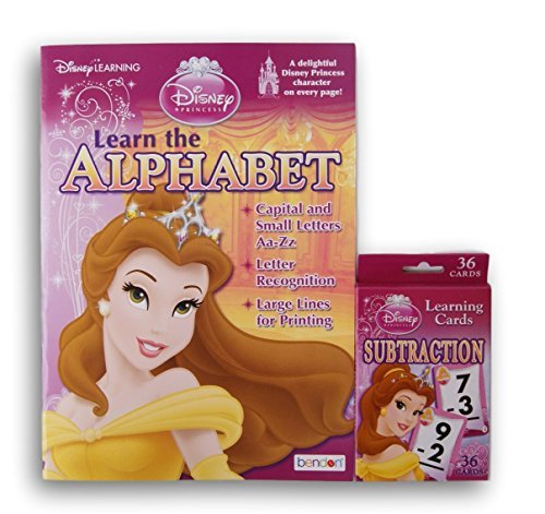Belle Disney Princess Themed Alphabet and Subtraction Bundle - Workbook and Flashcards