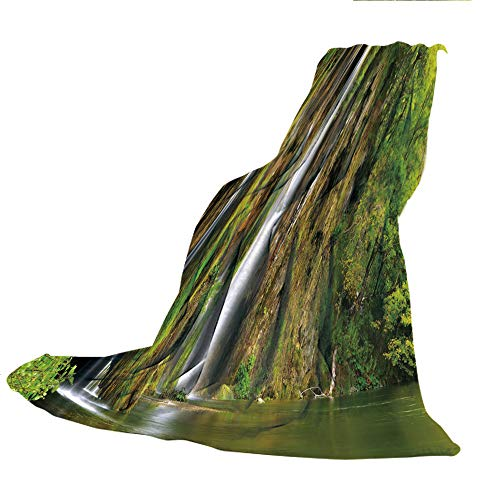 (SCOCICI Super Thick Flannel Double-Sided Printing Blanket,Nature,Majestic Waterfall Flowing Down to River in National Park Fresh Landscape Decorative,Green Brown White,31.50