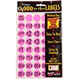 Sunburst Systems 7035 1000 Count Garage Sale Pricing Stickers, Pink