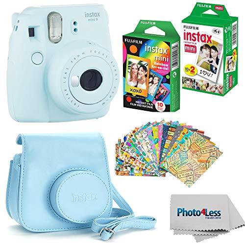 Best Price Fujifilm Instax mini 9 Instant Film Camera (Ice Blue) – Fujifilm Instax Mini Instant Film, Twin Pack – Fujifilm Instax Mini Rainbow Film – Case for Fuji Mini Camera – Fuji Instax Accessory Bundle