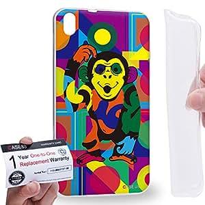 Case88 [HTC Desire 816] Gel TPU Carcasa/Funda & Tarjeta de garantía - Art Drawing Monkey Kawaii Abstract Animals Art2576