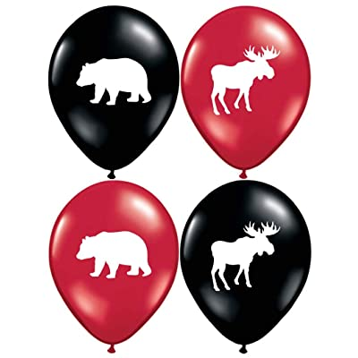 "Gypsy Jade's Moose and Bear Balloons - Great for Little Lumberjack and Flannel Themed Parties! 32 Big 12"" Latex Balloons!: Toys & Games"