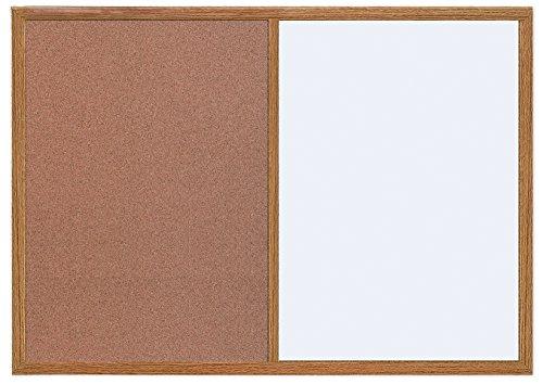 MasterVision Combination Dry Erase / Cork Bulletin Board, 2 x 3 Feet, Oak Frame (MX071212319)