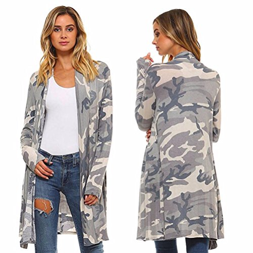 BCDshop Women Camo Kimono Cardigan Top Cover up Loose Boho S
