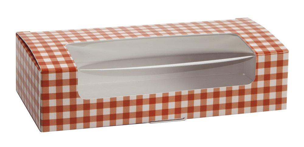 Orange Gingham Auto Bottom Box (250, 1 lb with window)