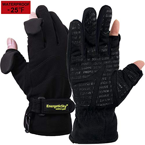 (EnergeticSky Waterproof Winter Gloves,3M Thinsulate Ski & Snowboard Gloves for Men and Women,Touchscreen Gloves for Fishing,Photographing,Hunting Outdoor Activities.(Black, M))