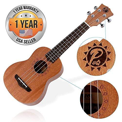 Solid Wood Mahogany Soprano Ukulele Professional Instrument with Solid Dark Brown Body & Neck, Black Walnut Fingerboard & Bridge - Pyle Pro PUKT45