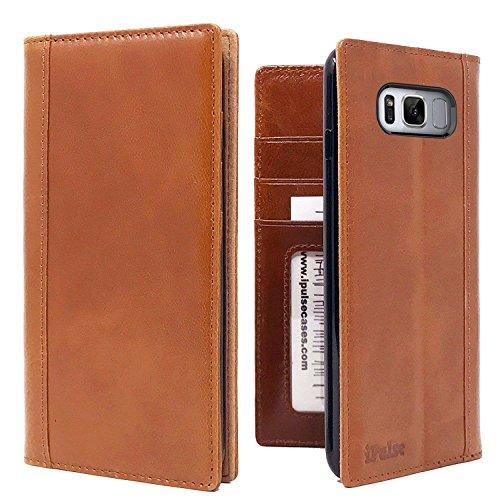 Galaxy S8 Plus Flip Case — iPulse Italian Full Grain Leather Handmade Wallet Case For Samsung Galaxy S8