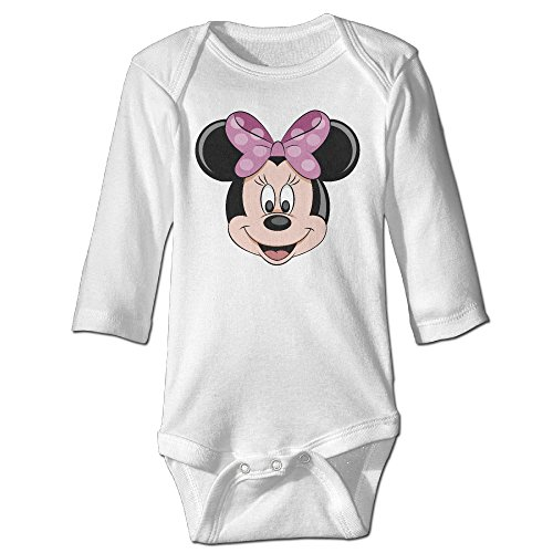 Minnie Mouse Running Costume (Raymond Minnie Mouse Designed Long Sleeve Bodysuit Outfits White 6 M)