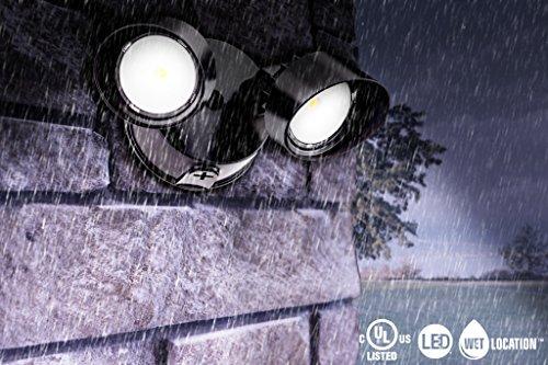 Lithonia Lighting OLF 2RH 40K 120 BZ M4 2-Head Outdoor LED Round Flood Light, Black/Bronze