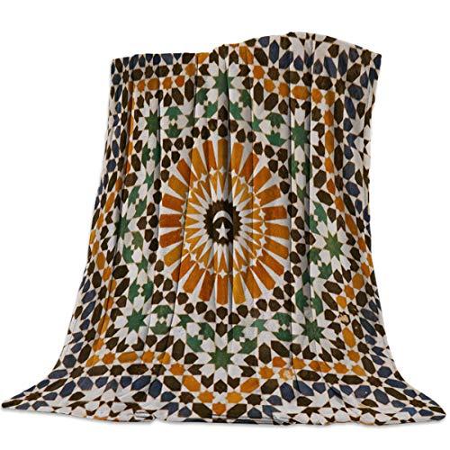 (Singingin Ultra Soft Flannel Fleece Bed Blanket Morocco Flower Tile Texture Throw Blanket All Season Warm Fuzzy Light Weight Cozy Plush Blankets for Living Room/Bedroom 50