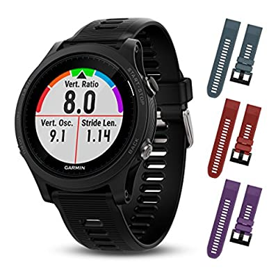 Garmin Forerunner 935 010-01746-00 and Three Additional Wearable4U Quick Release Silicone Watch Bands Bundle