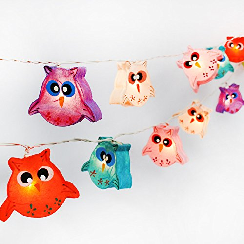 CHAINUPON Owl Bird Fancy Lantern String Night Lights Fairy Decor Living Room Kid Child Bedroom Boys Girls (Multi-colored) (Owl Lantern)