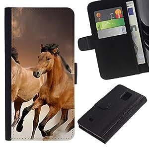 LASTONE PHONE CASE / Lujo Billetera de Cuero Caso del tirón Titular de la tarjeta Flip Carcasa Funda para Samsung Galaxy Note 4 SM-N910 / Horses Fur Animals Nature Mustang Riding Brown