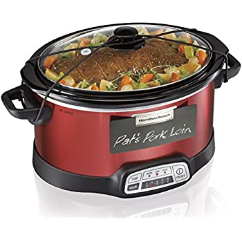 Hamilton Beach Programmable Slow Cooker, 5-Quart with Lid Latch Strap & Chalkboard Panels, Red (33551)