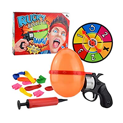 TOYANDONA Russian Roulette Balloon Creative Funny Turntable Balloon Set Spoof Water Polo Party Interactive Adult Tabletop Games Tricky Toy for Kids Adult Random Color: Toys & Games