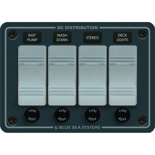 Blue Sea Systems Sw PNL, Contura w/Fuses, 4 Sw, Gray