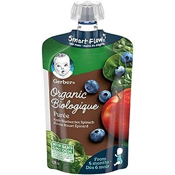 Gerber NESTLÉ Organic Purée, Apple, Blueberries & Spinach 128ml Pouch (Pack of 12 Re-sealable Pouches) Nestlé