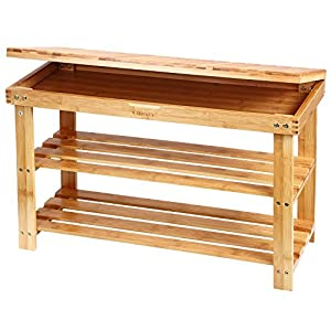 6. Ollieroo 2 Tier Natural Bamboo Shoe Rack Organizer and Foot Stool with Storage Drawer on Top