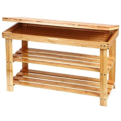 Ollieroo Shoe Rack 2 Tier Natural Bamboo Shoe Rack Bench Organizer and Foot Stool with Storage Drawer on Top - Brand: Ollieroo HIGH GRADE BAMBOO: Made of High Grade 100% Natural Bamboo and safe lacquer finish, Environmental Friendly HIDDEN TOP LAYER: Storage Drawer on Top can place shoe laces, shoe shine, insoles, or anything else necessary for your foot care or for your shoes; Bench and shoe rack in one provides comfortable seating whilst changing shoes - entryway-furniture-decor, entryway-laundry-room, benches - 51UafRO p6L. SS400  -