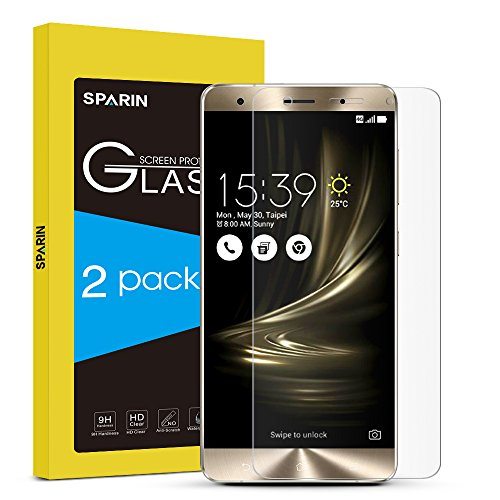 SPARIN 2 PACK ZenFone 3 Deluxe ZS570KL (5.7 inch) Screen Protector, [Tempered Glass] [Bubble-Free] [Easy Installation] [.3MM/HD] for ASUS ZenFone 3 Deluxe