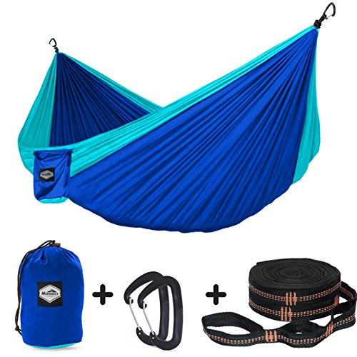 Nordmiex Double Portable Camping Hammock – Upgraded Carabiners Portable Hammock with Tree Straps Indoor Backyard Hammock Easy Setup Hammock – Holds 600 lbs