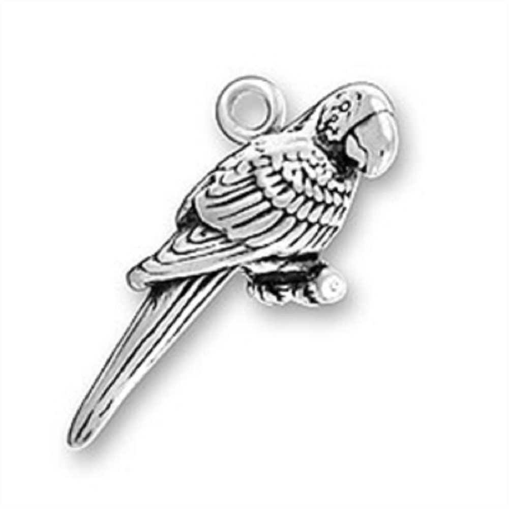 Sterling Silver Girls .8mm Box Chain 3D Pet Bird Parrot Macaw Pendant Necklace
