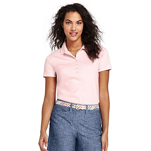 Lands' End Women's Tall Pima Cotton Polo Shirt, S, Pearl Pink -