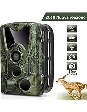 AGM Fotocamera da Caccia 16MP Telecamera 1080P Fototrappola, Macchine Fotografiche da Caccia con 0.2s Trigger Speed Fino a 65ft, IP66 Impermeabile Telecamera(Verde Camouflage)