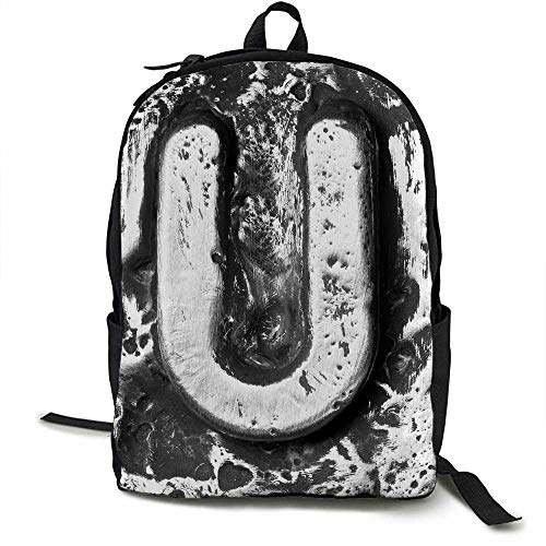 Letter U Light travel backpack Old Stylized U Font Large Letters Scattered Symbolic Iron Style Character Image Multi-functional daily carrying 16.5 x 12.5 x 5.5 Inch Black Grey]()