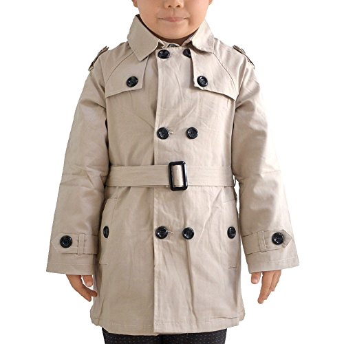 Enoufellama Boys kids Fashion Double Breasted Belted Long Trench Coat Jacket Parka (2-3years, Cream) (Cream Spring Coat)