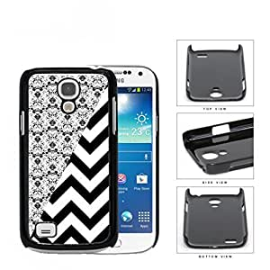 Black & White Floral Damask Pattern with Black/White Chevron Pattern Samsung i9190 Galaxy S4 (MINI) Hard Snap on Plastic Cell Phone Case Cover