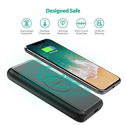 Portable Wireless Charger RAVPower 10000mAh External Wireless Battery Charger 5W Battery Pack for iPhone X, iPhone 8/8 Plus, Qi Wireless Power Bank for S9, S8,Note8 and Qi-Enabled Devices by RAVPower (Image #7)