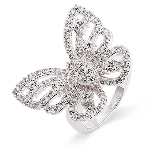 Sterling Silver CZ Butterfly Ring, Sizes 5 to (Butterfly Pave Ring)