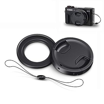 Filter Adapter JJC Conversion Lens Ring Adapter Fits Canon PowerShot G7X  Mark II G5X 49mm Filter Lens Cap & Lens Cap Keeper -Black