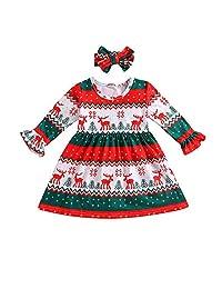 2pcs Baby Christmas Dress, Vinjeely Toddler Girls Deer Stripe Princess Party Dress