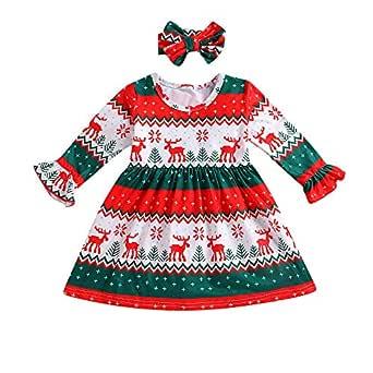Xmiral 2 Piezas Conjuntos de Vestido para Navidad de Manga Larga ...