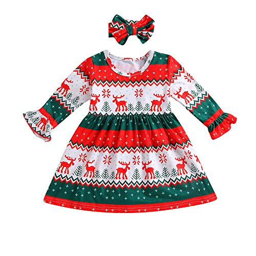Christmas Toddler Clothes Outfit,Kids Baby Girl Deer Stripe