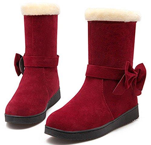 Idifu Mujeres Warm Fur Filed Faux Suede Botines De Invierno De Media Pantorrilla Botas De Nieve Con Lazo Rojo