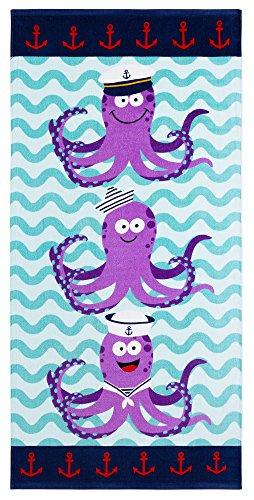 Safdie & Co. Octopus Beach Towel, Reactive Print, Marine, 28