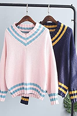 fe5df67d4dcd9 Generic Korean version new winter sweater thin sweater striped V-neck  pullover shirt school uniforms for women girl  Amazon.ca  Home   Kitchen