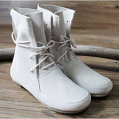 Winter Boots For EU37 UK4 Fluff Nappa 5 7 5 CN37 Booties Casual Fashion 5 US6 Boots Lining Fall Boots Shoes RTRY Ankle Brown Women'S Leather Beige 6n1fXf